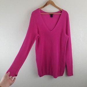 Lane Bryant Pink V-neck Long Sleeve Knit Sweater 7